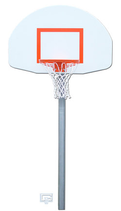 """4 1/2"""" O.D. Front Mount Gooseneck Post Basketball System with 35"""" x 54"""" Fan-Shaped Backboard and Braces"""