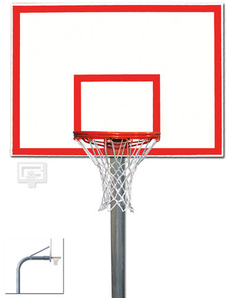 "4 1/2"" O.D. Front Mount Gooseneck Post Basketball System with 42"" x 60"" Acrylic Backboard, Braces and Bre"
