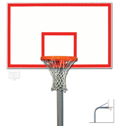 """5 9/16"""" O.D. Front Mount Gooseneck Post Basketball System with 42"""" x 72"""" Steel Backboard and Braces"""