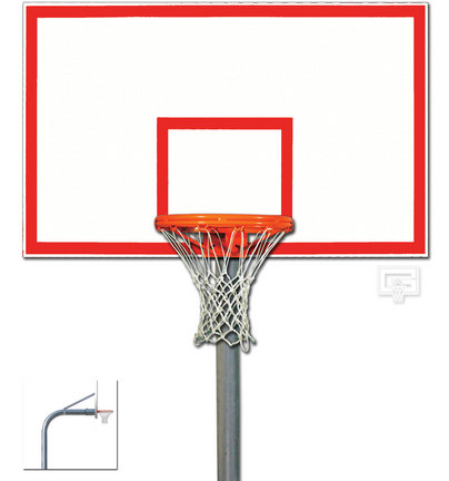 """5 9/16"""" O.D. Front Mount Gooseneck Post Basketball System with 42"""" x 60"""" Steel Backboard and Braces"""
