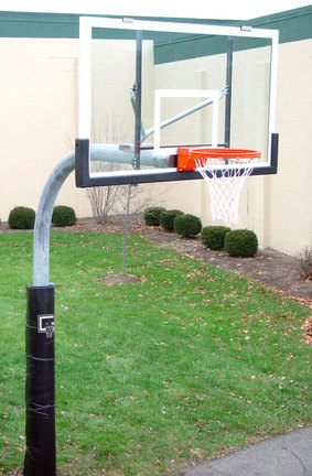 """5 9/16"""" O.D. Front Mount Gooseneck Post Basketball System with 42"""" x 60"""" Glass Backboard and Braces"""