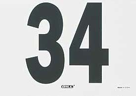 """Tyvek® material (fabric and paper combine to make these numbers water and tear resistant).  Numerals are 2 1/2"""" high on a 3"""" x 5"""" panel.  Set of 100.There is no actual image of this item.  The image shown is representative only.  The actual item will have triple digits.Please Note: This item CANNOT ship to P.O. Boxes, APO, or FPO Addresses. It CAN ONLY ship to a Street Address."""