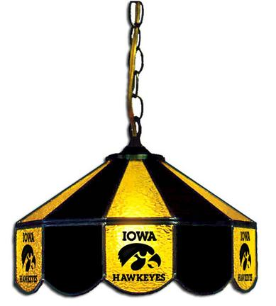 Iowa Hawkeyes Large Swag Hanging Stained Glass Lamp