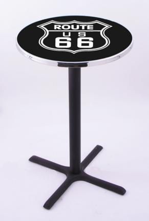 """Route 66 (L211) 42"""" Tall Logo Pub Table by Holland Bar Stool Company (with Black Wrinkle Base and 28"""" Table To"""