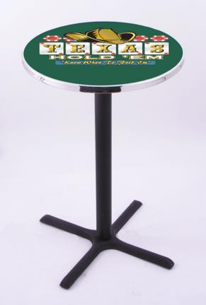 """Texas Hold Em (L211) 42"""" Tall Logo Pub Table by Holland Bar Stool Company (with Black Wrinkle Base and 28"""" Tab"""