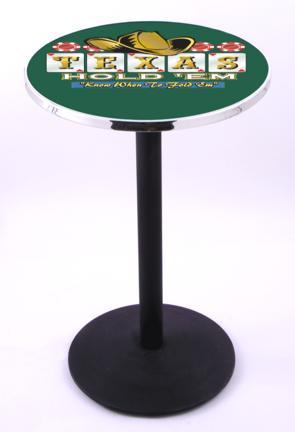 """Texas Hold Em (L214) 36"""" Tall Logo Pub Table by Holland Bar Stool Company (with Black Wrinkle Base and 28"""" Tab"""