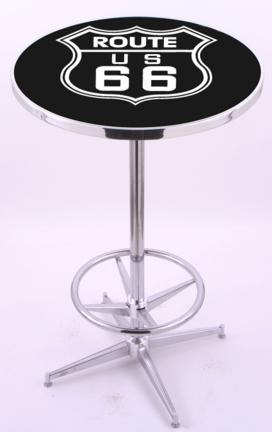 "Route 66 (L216) 42"" Tall Logo Pub Table by Holland Bar Stool Company (with Chrome Base and 28"" Table Top Diame"
