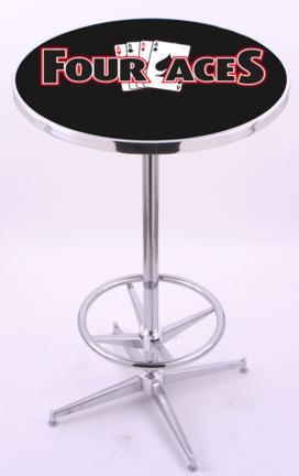 """4 Aces (L216) 42"""" Tall Logo Pub Table by Holland Bar Stool Company (with Chrome Base and 28"""" Table Top Diamete"""