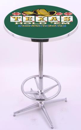 "Texas Hold Em (L216) 42"" Tall Logo Pub Table by Holland Bar Stool Company (with Chrome Base and 28"" Table Top"