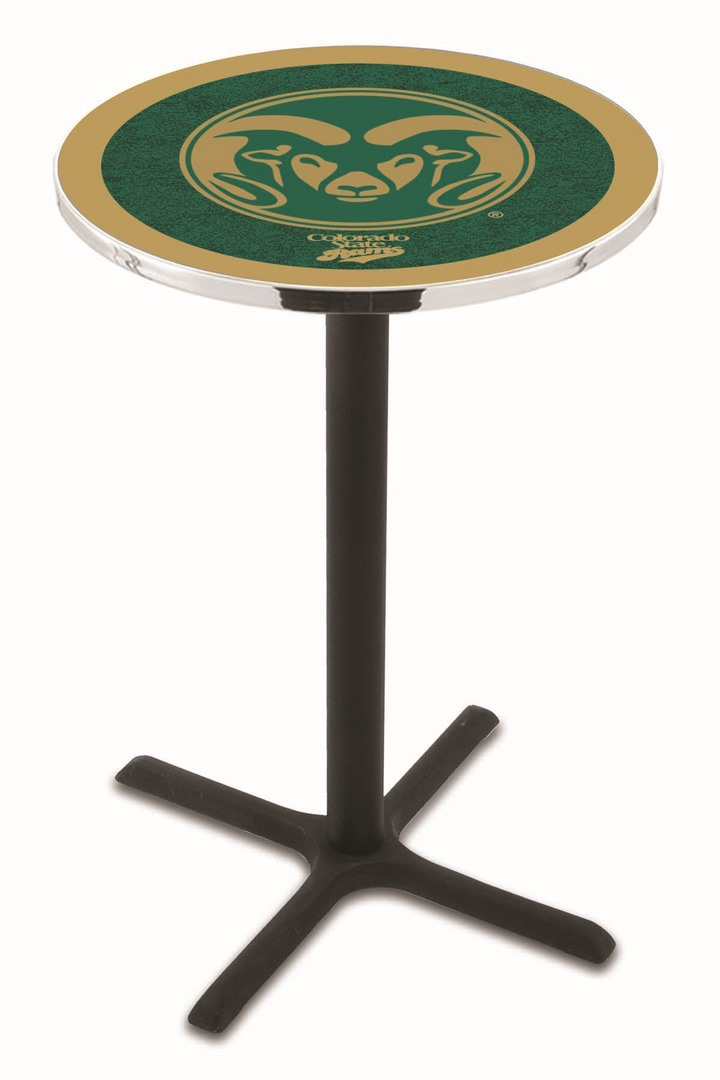 "Colorado State Rams (L211) 36"" Tall Logo Pub Table by Holland Bar Stool Company (with Black Wrinkle Base and 28"" Table Top Diameter)"
