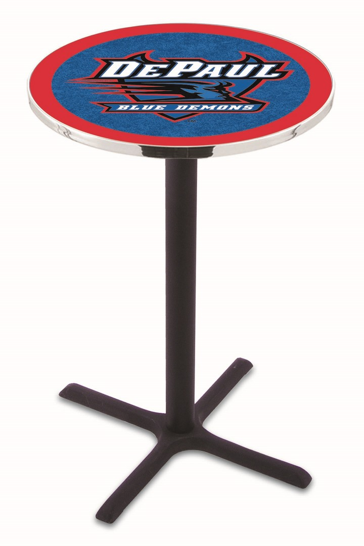 "DePaul Blue Demons (L211) 36"" Tall Logo Pub Table by Holland Bar Stool Company (with Black Wrinkle Base and 28"" Table Top Diameter)"