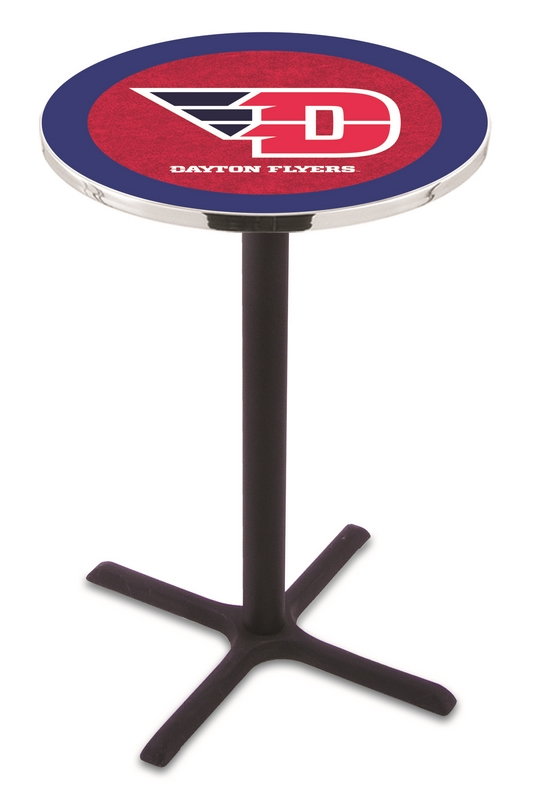 "Dayton Flyers (L211) 36"" Tall Logo Pub Table by Holland Bar Stool Company (with Black Wrinkle Base and 28"" Table Top Diameter)"