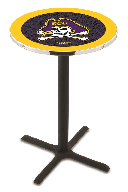 "East Carolina Pirates (L211) 36"" Tall Logo Pub Table by Holland Bar Stool Company (with Black Wrinkle Base and 28"" Table Top Diameter)"