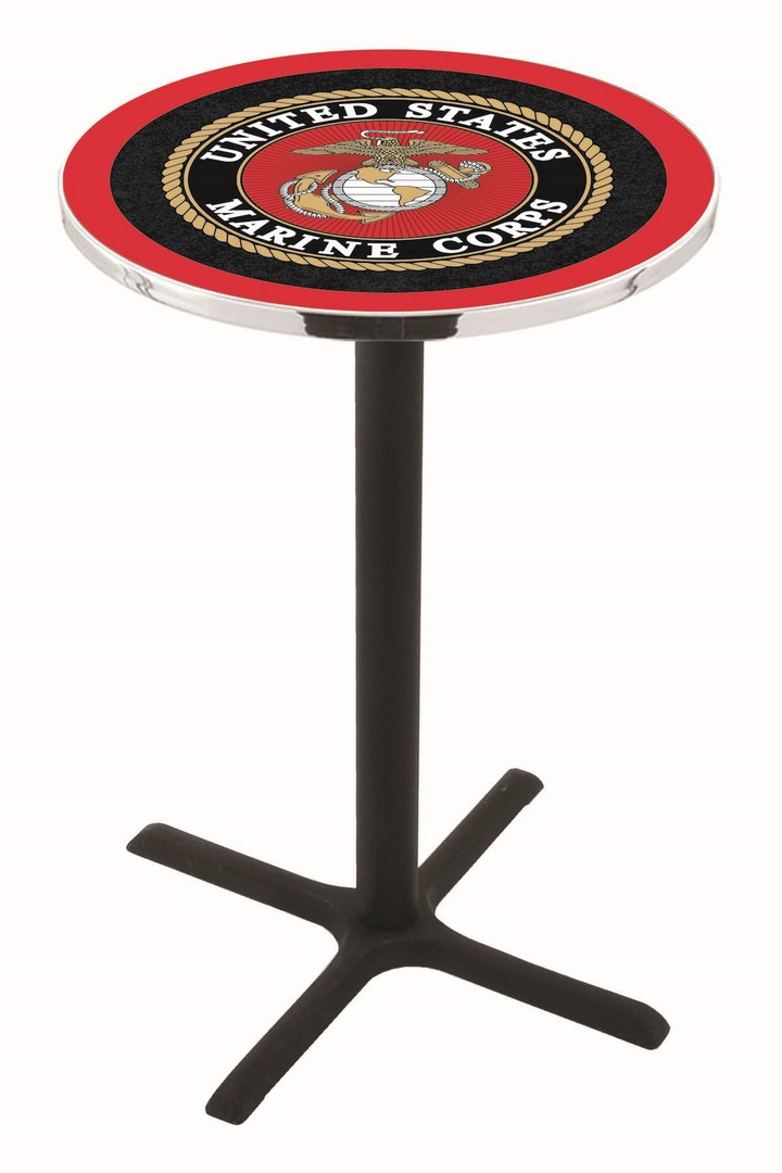 "US Marines (L211) 42"" Tall Logo Pub Table by Holland Bar Stool Company (with Black Wrinkle Base and 28"" Table Top Diameter)"