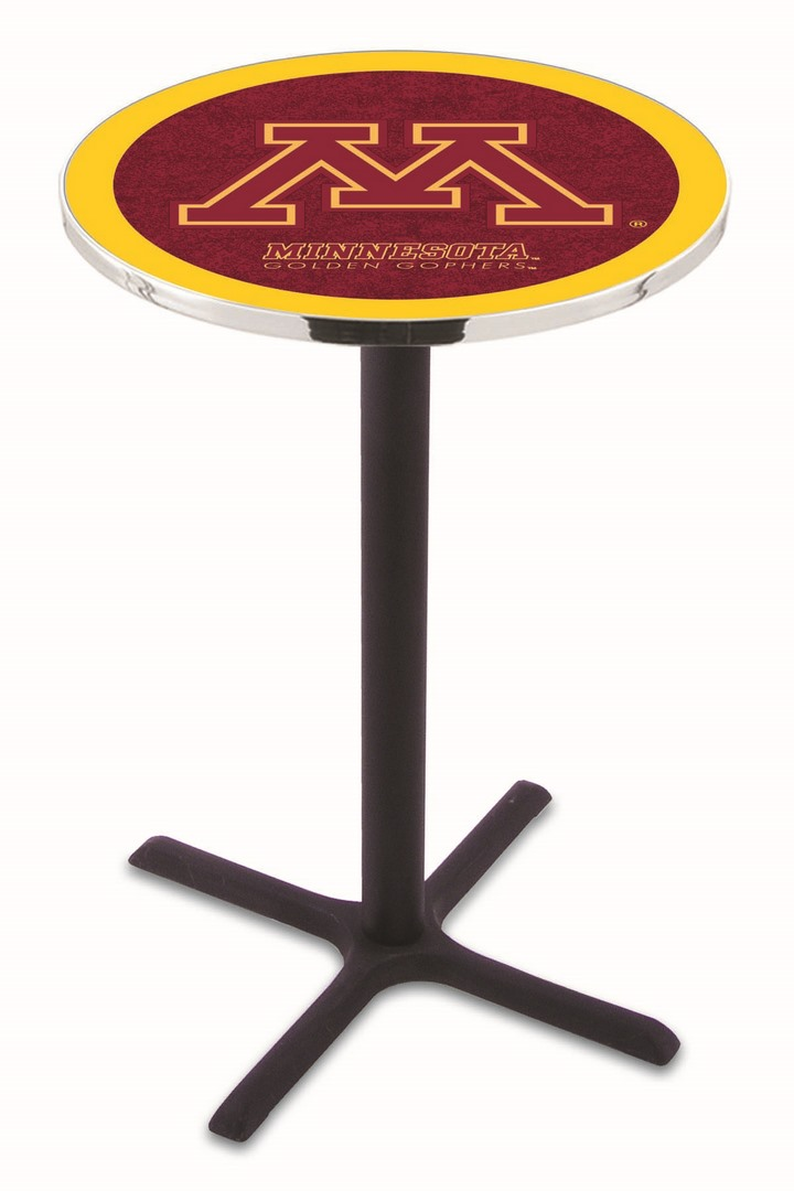 "Minnesota Golden Gophers (L211) 42"" Tall Logo Pub Table by Holland Bar Stool Company (with Black Wrinkle Base and 28"" Table Top Diameter)"