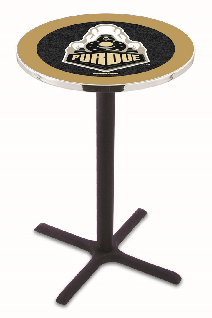 "Purdue Boilermakers (L211) 42"" Tall Logo Pub Table by Holland Bar Stool Company (with Black Wrinkle Base and 28"" Table Top Diameter)"
