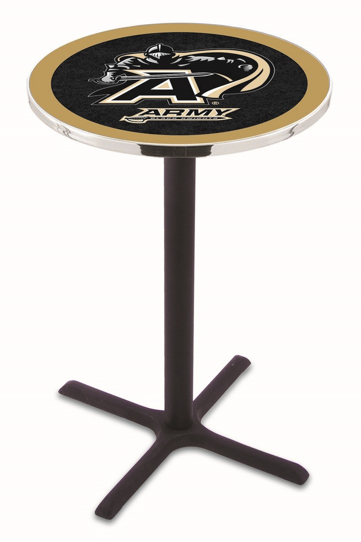"Army Black Knights (L211) 36"" Tall Logo Pub Table by Holland Bar Stool Company (with Black Wrinkle Base and 28"" Table Top Diameter)"