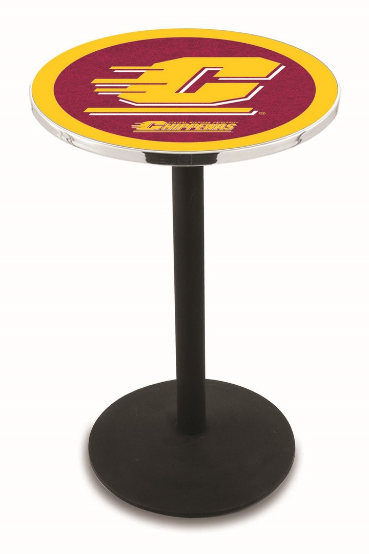 "Central Michigan Chippewas (L214) 42"" Tall Logo Pub Table by Holland Bar Stool Company (with Black Wrinkle Base and 28"" Table Top Diameter)"