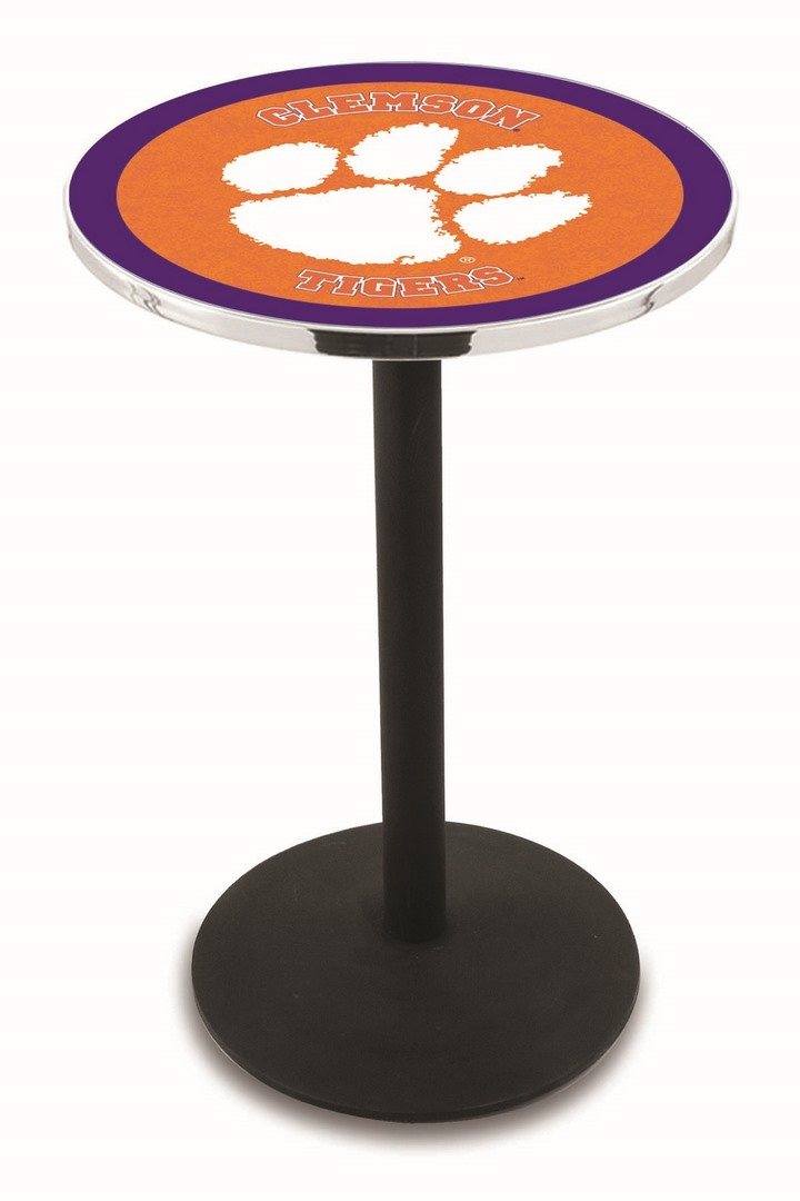 "Clemson Tigers (L214) 36"" Tall Logo Pub Table by Holland Bar Stool Company (with Black Wrinkle Base and 28"" Table Top Diameter)"
