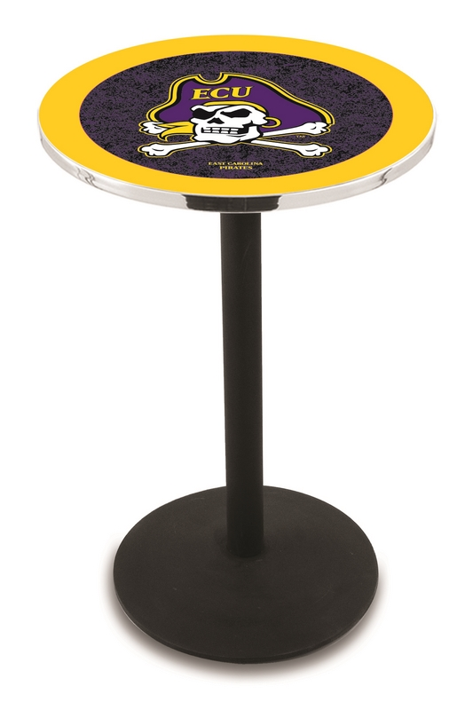 "East Carolina Pirates (L214) 36"" Tall Logo Pub Table by Holland Bar Stool Company (with Black Wrinkle Base and 28"" Table Top Diameter)"