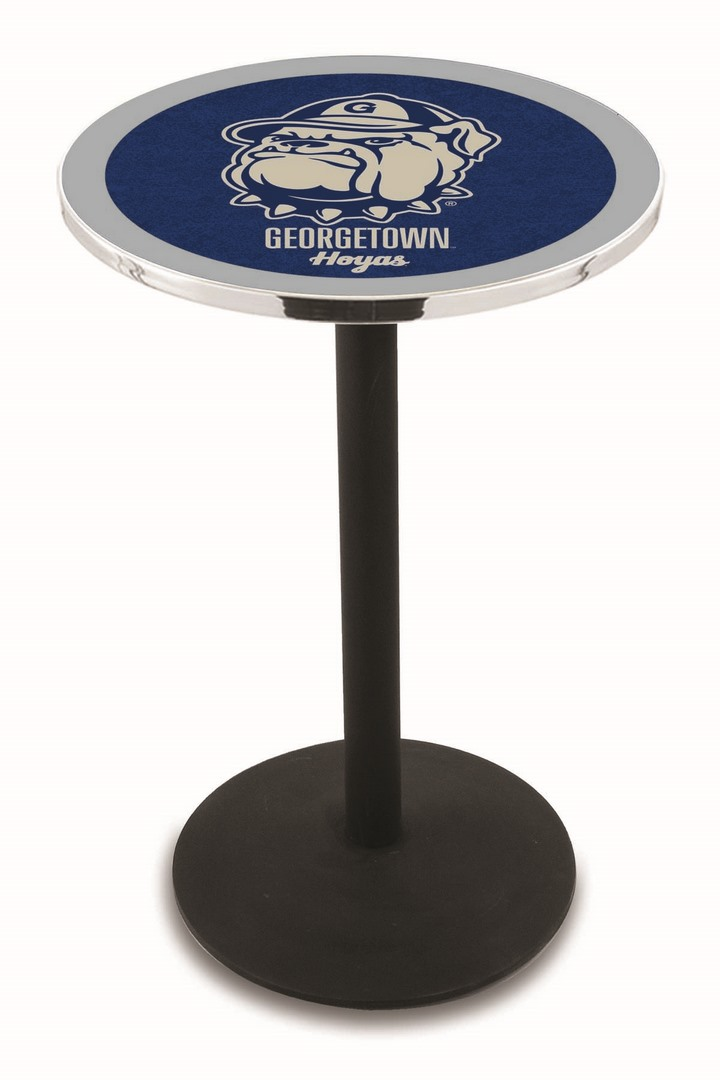 "Georgetown Hoyas (L214) 36"" Tall Logo Pub Table by Holland Bar Stool Company (with Black Wrinkle Base and 28"" Table Top Diameter)"