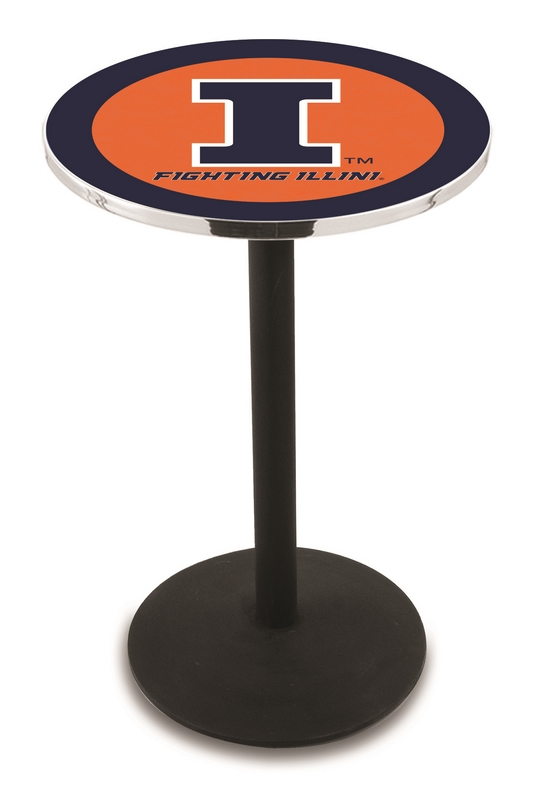 "Illinois Fighting Illini (L214) 42"" Tall Logo Pub Table by Holland Bar Stool Company (with Black Wrinkle Base and 28"" Table Top Diameter)"