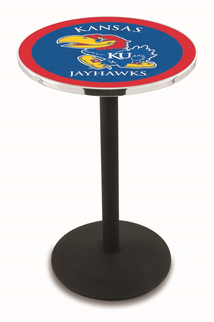 "Kansas Jayhawks (L214) 42"" Tall Logo Pub Table by Holland Bar Stool Company (with Black Wrinkle Base and 28"" Table Top Diameter)"