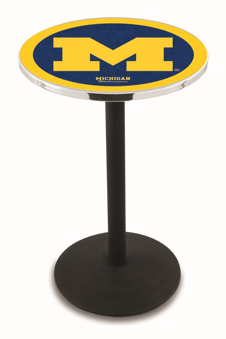 "Michigan Wolverines (L214) 36"" Tall Logo Pub Table by Holland Bar Stool Company (with Black Wrinkle Base and 28"" Table Top Diameter)"