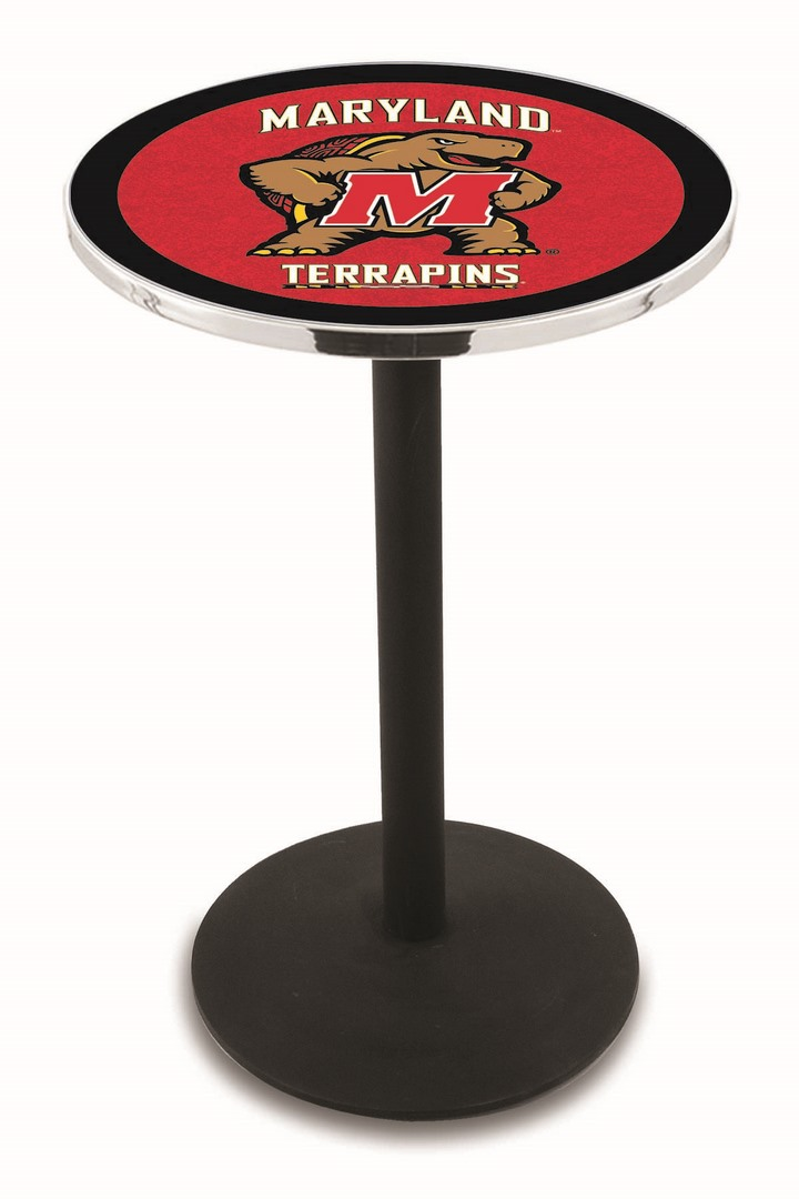 "Maryland Terrapins (L214) 36"" Tall Logo Pub Table by Holland Bar Stool Company (with Black Wrinkle Base and 28"" Table Top Diameter)"