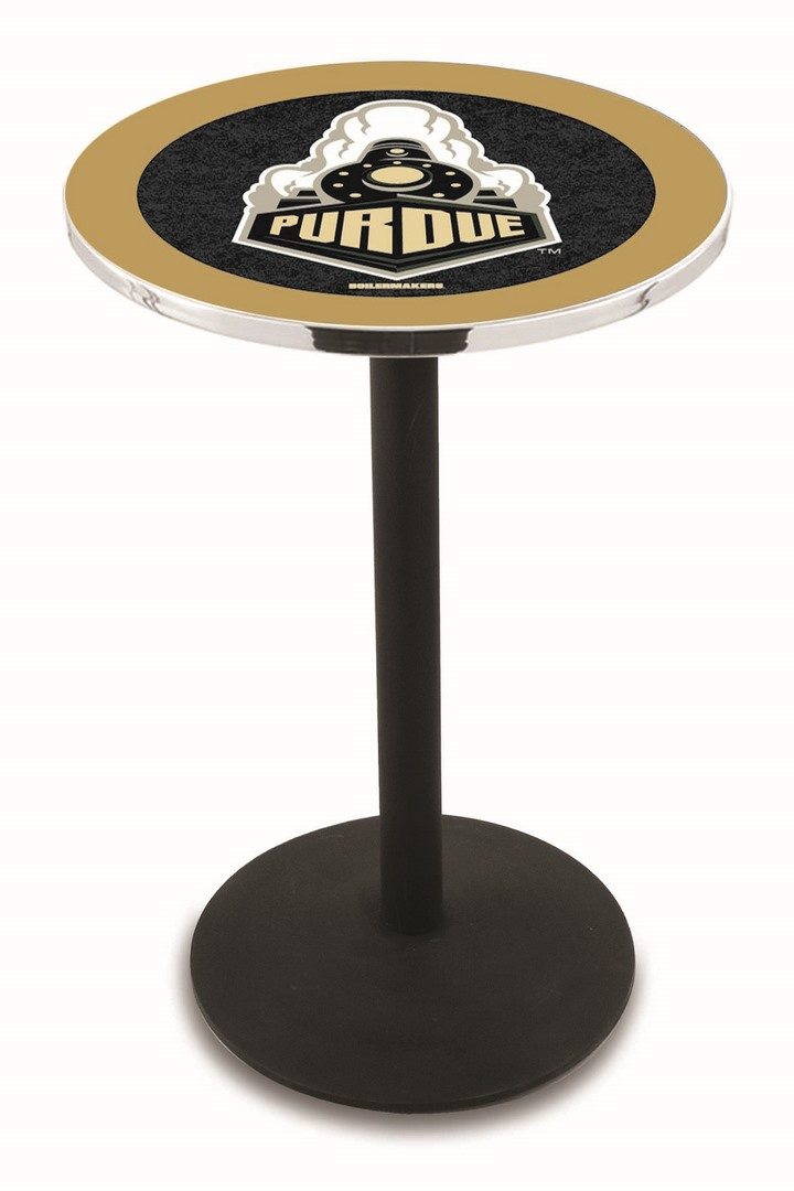 "Purdue Boilermakers (L214) 42"" Tall Logo Pub Table by Holland Bar Stool Company (with Black Wrinkle Base and 28"" Table Top Diameter)"