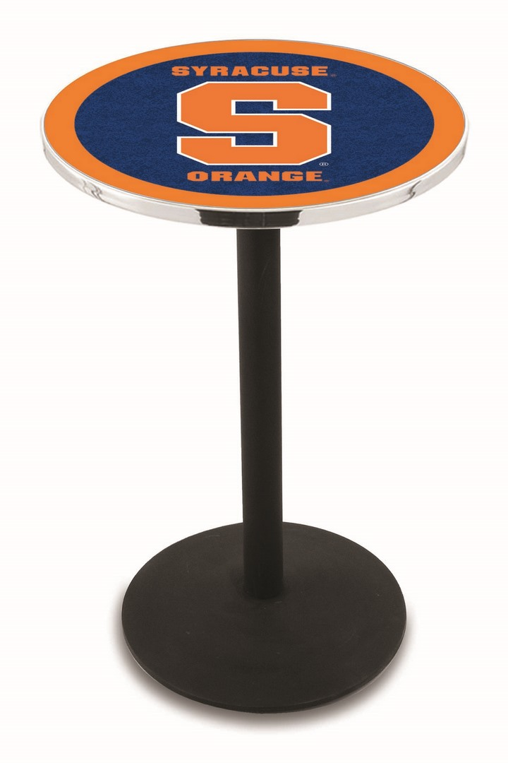"Syracuse Orange (Orangemen) (L214) 42"" Tall Logo Pub Table by Holland Bar Stool Company (with Black Wrinkle Base and 28"" Table Top Diameter)"