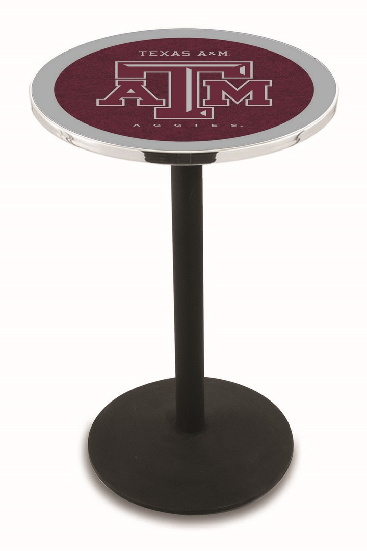 "Texas A & M Aggies (L214) 42"" Tall Logo Pub Table by Holland Bar Stool Company (with Black Wrinkle Base and 28"" Table Top Diameter)"