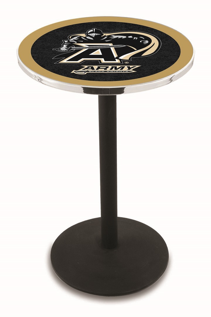 "Army Black Knights (L214) 42"" Tall Logo Pub Table by Holland Bar Stool Company (with Black Wrinkle Base and 28"" Table Top Diameter)"