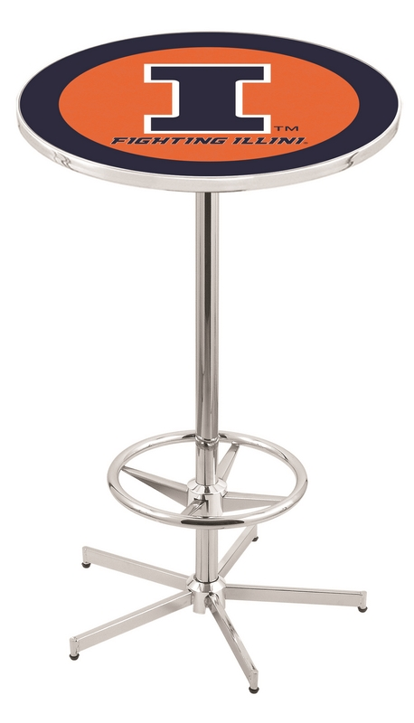 "Illinois Fighting Illini (L216) 42"" Tall Logo Pub Table by Holland Bar Stool Company (with Chrome Base and 28"" Table Top Diameter)"