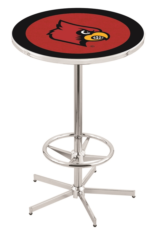 "Louisville Cardinals (L216) 42"" Tall Logo Pub Table by Holland Bar Stool Company (with Chrome Base and 28"" Table Top Diameter)"