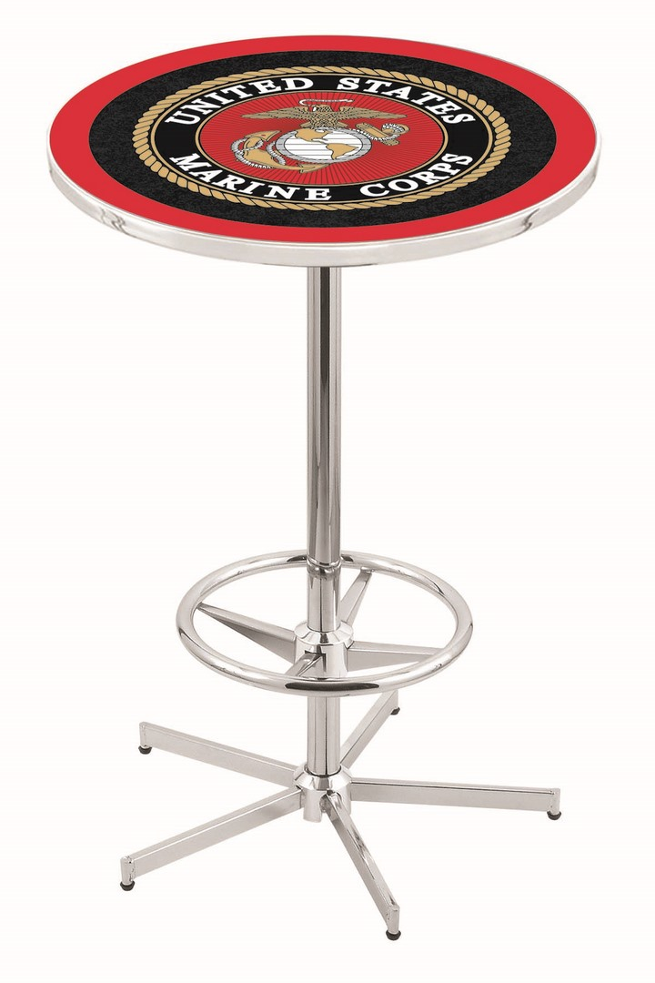 "US Marines (L216) 42"" Tall Logo Pub Table by Holland Bar Stool Company (with Chrome Base and 28"" Table Top Diameter)"