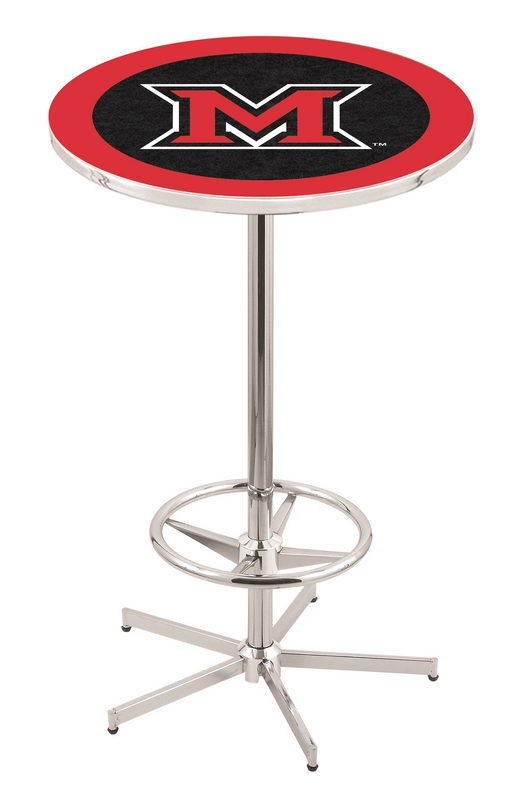 "Miami (Ohio) RedHawks (L216) 42"" Tall Logo Pub Table by Holland Bar Stool Company (with Chrome Base and 28"" Table Top Diameter)"