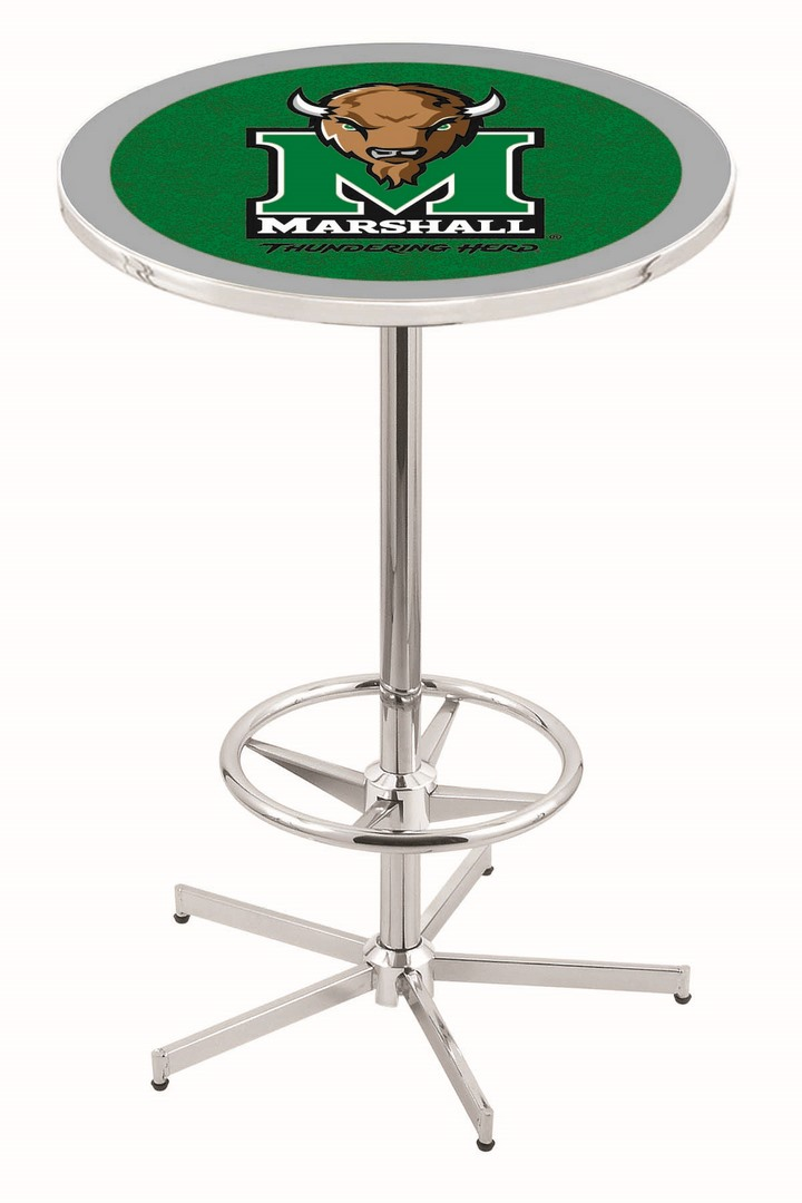 "Marshall Thundering Herd (L216) 42"" Tall Logo Pub Table by Holland Bar Stool Company (with Chrome Base and 28"" Table Top Diameter)"