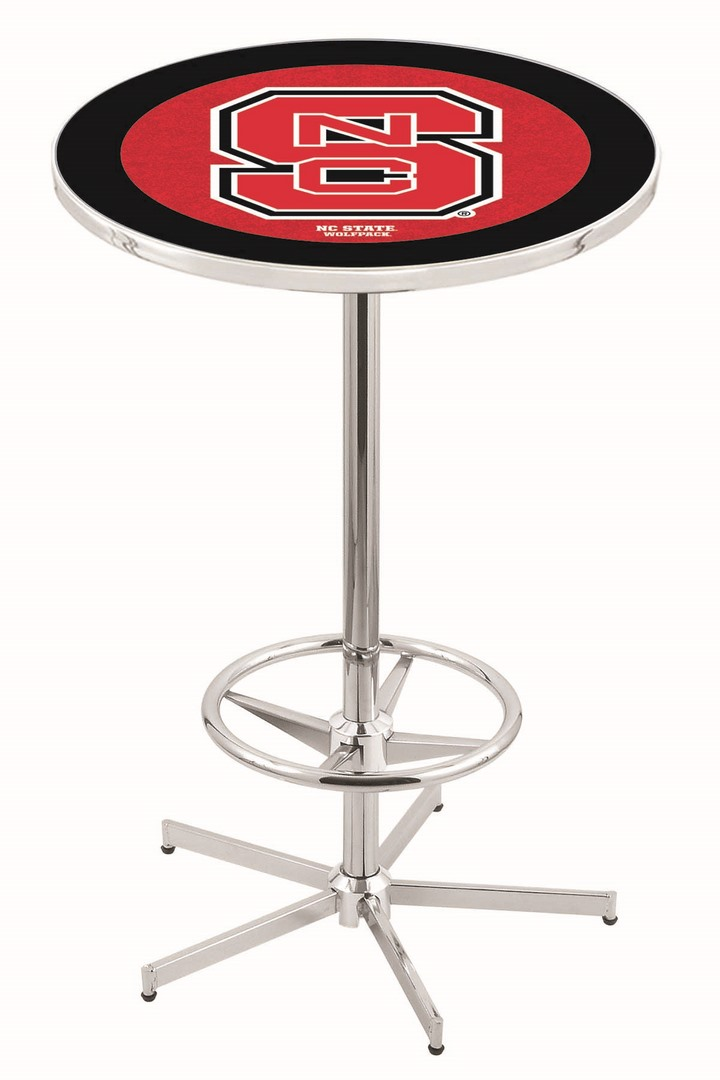 "North Carolina State Wolfpack (L216) 42"" Tall Logo Pub Table by Holland Bar Stool Company (with Chrome Base and 28"" Table Top Diameter)"