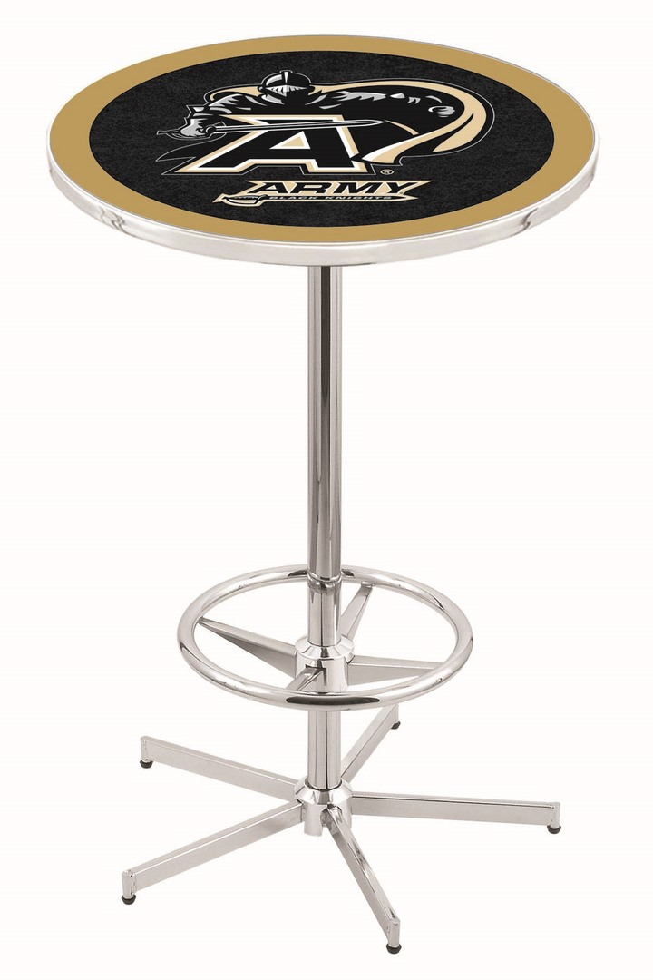 "Army Black Knights (L216) 42"" Tall Logo Pub Table by Holland Bar Stool Company (with Chrome Base and 28"" Table Top Diameter)"