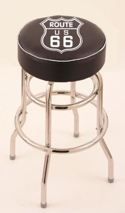 "Route 66 (L7C1) 30"" Tall Logo Bar Stool by Holland Bar Stool Company (with Double Ring Swivel Chrome Base)"