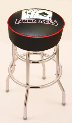 """4 Aces (L7C1) 30"""" Tall Logo Bar Stool by Holland Bar Stool Company (with Double Ring Swivel Chrome Base)"""