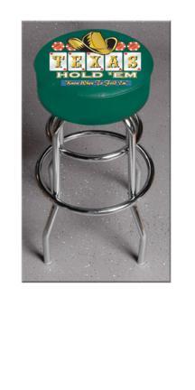 "Texas Hold Em (L7C1) 30"" Tall Logo Bar Stool by Holland Bar Stool Company (with Double Ring Swivel Chrome Base)"