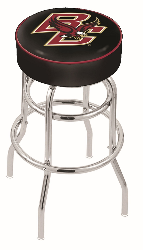 """Boston College Eagles (L7C1) 25"""""""" Tall Logo Bar Stool by Holland Bar Stool Company (with Double Ring Swivel Chrome Base)"""" HBS-HBS25L7C1-BOSTONCOLLEGE"""