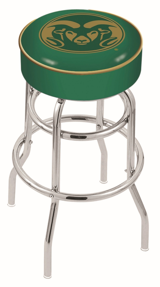 "Colorado State Rams (L7C1) 25"""" Tall Logo Bar Stool by Holland Bar Stool Company (with Double Ring Swivel Chrome Base)"" HBS-HBS25L7C1-COLORADOSTATEUNIVERSITY"