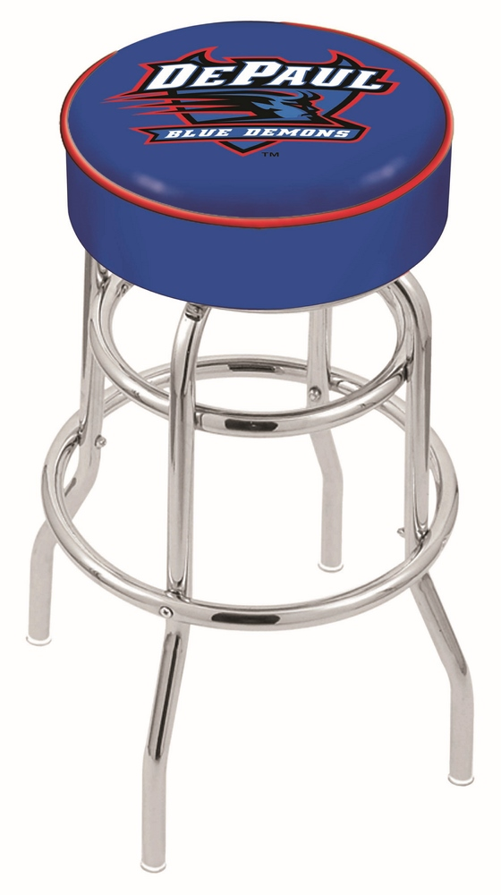 "DePaul Blue Demons (L7C1) 25"""" Tall Logo Bar Stool by Holland Bar Stool Company (with Double Ring Swivel Chrome Base)"" HBS-HBS25L7C1-DEPAULUNIVERSITY"