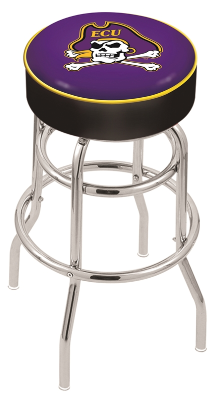"East Carolina Pirates (L7C1) 25"""" Tall Logo Bar Stool by Holland Bar Stool Company (with Double Ring Swivel Chrome Base)"" HBS-HBS25L7C1-EASTCAROLINAUNIVERSITY"
