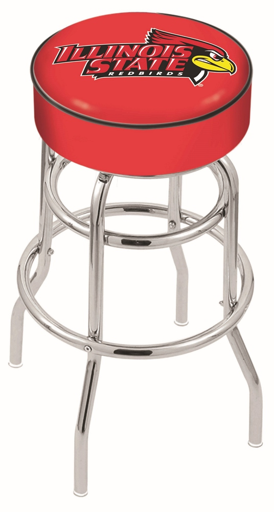 "Illinois State Redbirds (L7C1) 25"""" Tall Logo Bar Stool by Holland Bar Stool Company (with Double Ring Swivel Chrome Base)"" HBS-HBS25L7C1-ILLINOISSTATEUNIVERSITY"