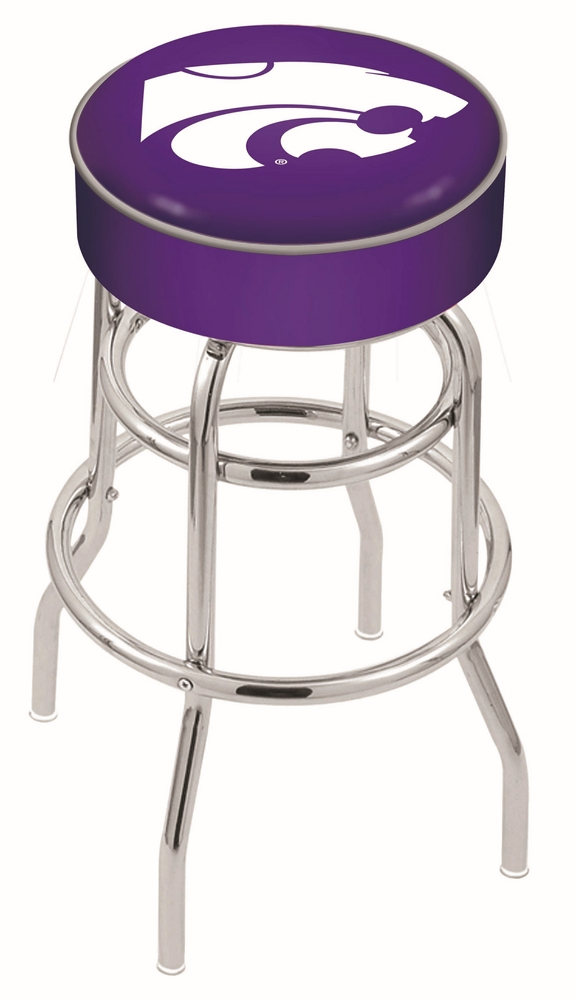 "Kansas State Wildcats (L7C1) 25"""" Tall Logo Bar Stool by Holland Bar Stool Company (with Double Ring Swivel Chrome Base)"" HBS-HBS25L7C1-KANSASSTATEUNIVERSITY"