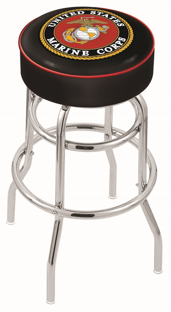 "US Marines (L7C1) 25"" Tall Logo Bar Stool by Holland Bar Stool Company (with Double Ring Swivel Chrome Base)"